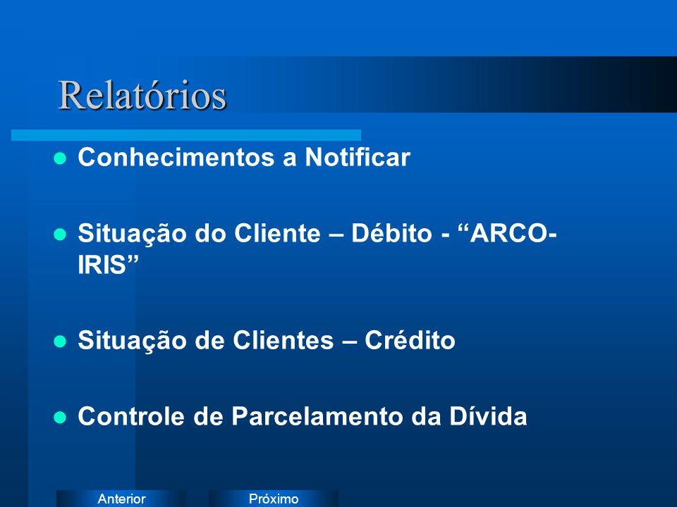 PróximoAnteriorRelatórios Conhecimentos a Notificar Situação do Cliente – Débito - ARCO- IRIS Situação de Clientes – Crédito Controle de Parcelamento