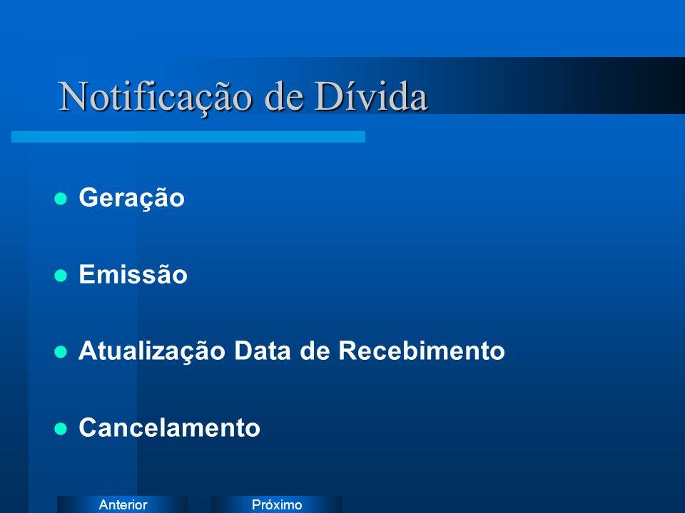 PróximoAnterior Notificação de Dívida Geração Emissão Atualização Data de Recebimento Cancelamento Instruções: Exclua o ícone do documento de exemplo