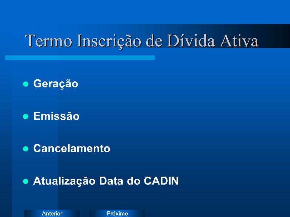PróximoAnterior Termo Inscrição de Dívida Ativa Geração Emissão Cancelamento Atualização Data do CADIN Instruções: Exclua o ícone do documento de exem