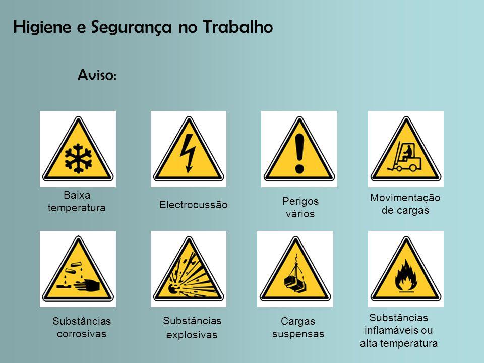 Higiene e Segurança no Trabalho Aviso: Baixa temperatura Electrocussão Perigos vários Substâncias corrosivas Substâncias explosivas Cargas suspensas Movimentação de cargas Substâncias inflamáveis ou alta temperatura
