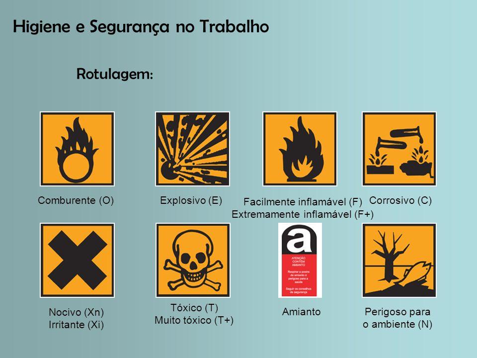 Higiene e Segurança no Trabalho Rotulagem: Comburente (O)Corrosivo (C)Explosivo (E) Facilmente inflamável (F) Extremamente inflamável (F+) Nocivo (Xn) Irritante (Xi) Perigoso para o ambiente (N) Tóxico (T) Muito tóxico (T+) Amianto