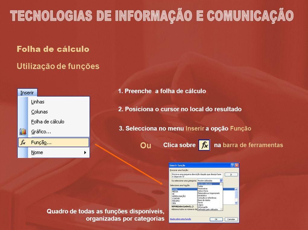 Folha de cálculo 1. Preenche a folha de cálculo 2. Posiciona o cursor no local do resultado 3. Selecciona no menu Inserir a opção Função Quadro de tod