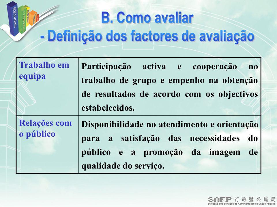 Trabalho em equipa Participação activa e cooperação no trabalho de grupo e empenho na obtenção de resultados de acordo com os objectivos estabelecidos.
