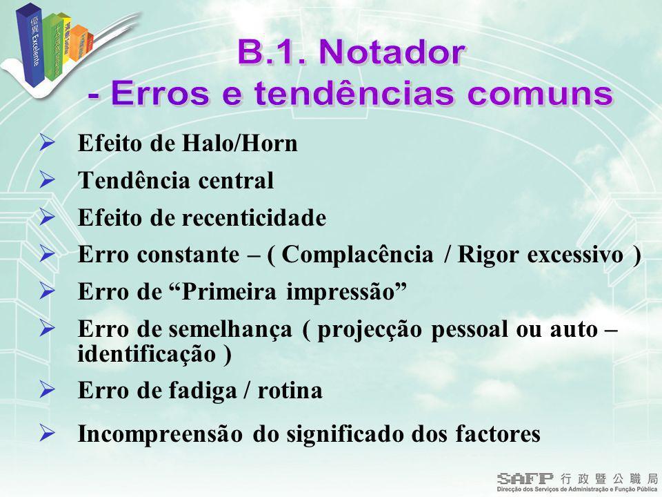 Efeito de Halo/Horn Tendência central Efeito de recenticidade Erro constante – ( Complacência / Rigor excessivo ) Erro de Primeira impressão Erro de s