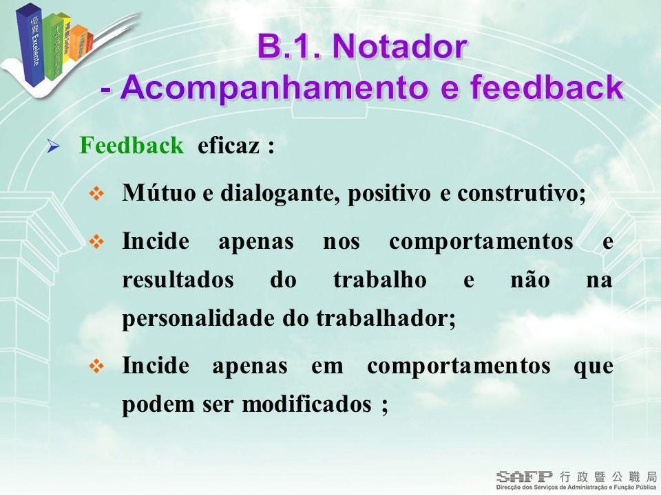 Feedback eficaz : Mútuo e dialogante, positivo e construtivo; Incide apenas nos comportamentos e resultados do trabalho e não na personalidade do trabalhador; Incide apenas em comportamentos que podem ser modificados ;