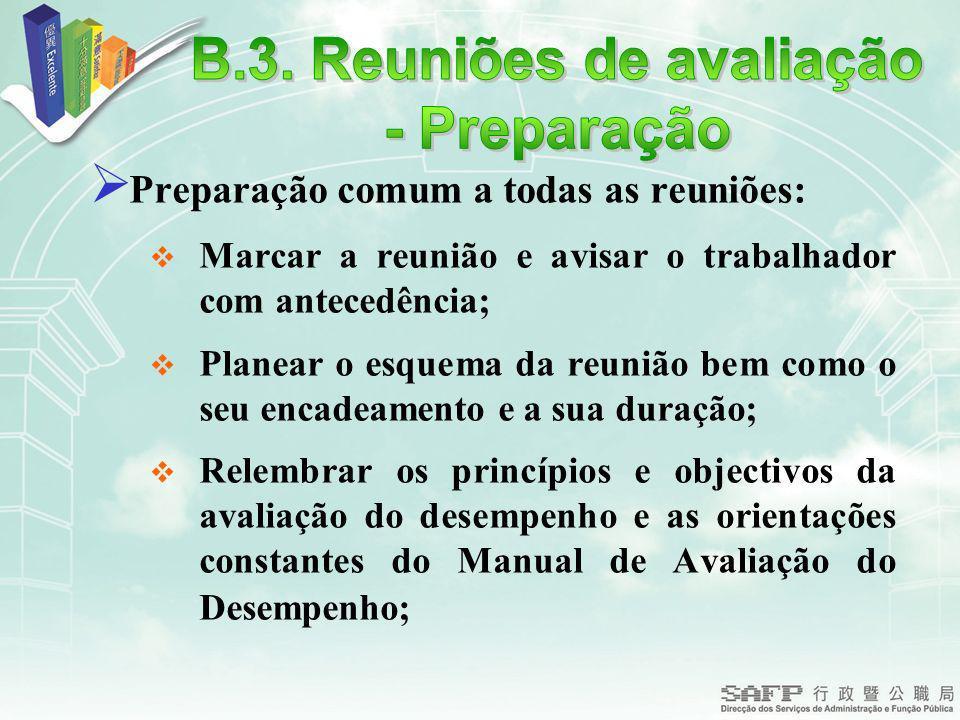 Preparação comum a todas as reuniões: Marcar a reunião e avisar o trabalhador com antecedência; Planear o esquema da reunião bem como o seu encadeamen