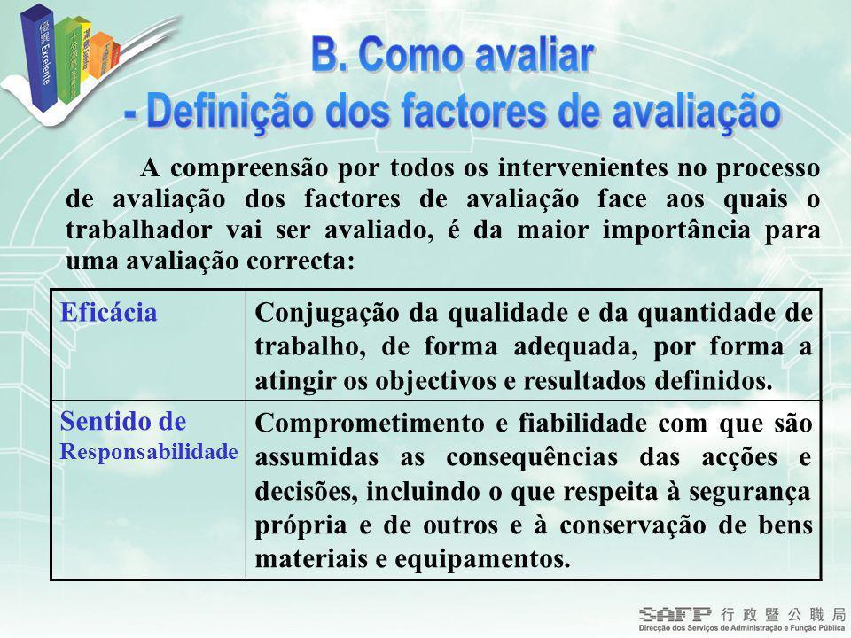 A compreensão por todos os intervenientes no processo de avaliação dos factores de avaliação face aos quais o trabalhador vai ser avaliado, é da maior