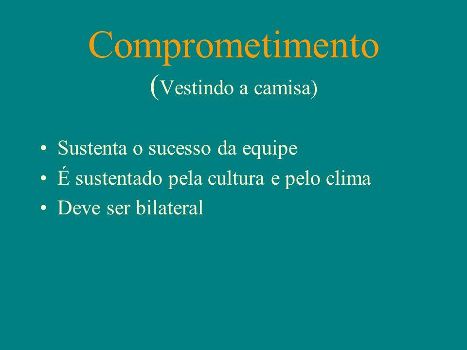 Comprometimento ( Vestindo a camisa) Sustenta o sucesso da equipe É sustentado pela cultura e pelo clima Deve ser bilateral