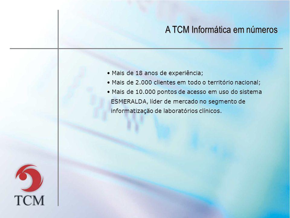 A TCM Informática em números Mais de 18 anos de experiência; Mais de 2.000 clientes em todo o território nacional; Mais de 10.000 pontos de acesso em
