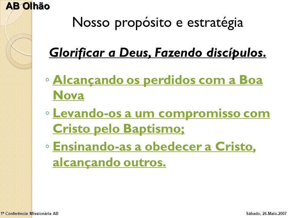 Nosso propósito e estratégia Glorificar a Deus, Fazendo discípulos. Alcançando os perdidos com a Boa Nova Levando-os a um compromisso com Cristo pelo