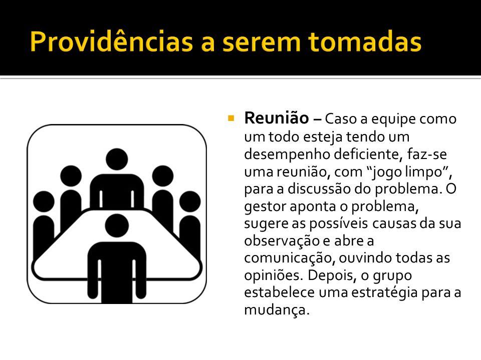 Reunião – Caso a equipe como um todo esteja tendo um desempenho deficiente, faz-se uma reunião, com jogo limpo, para a discussão do problema. O gestor
