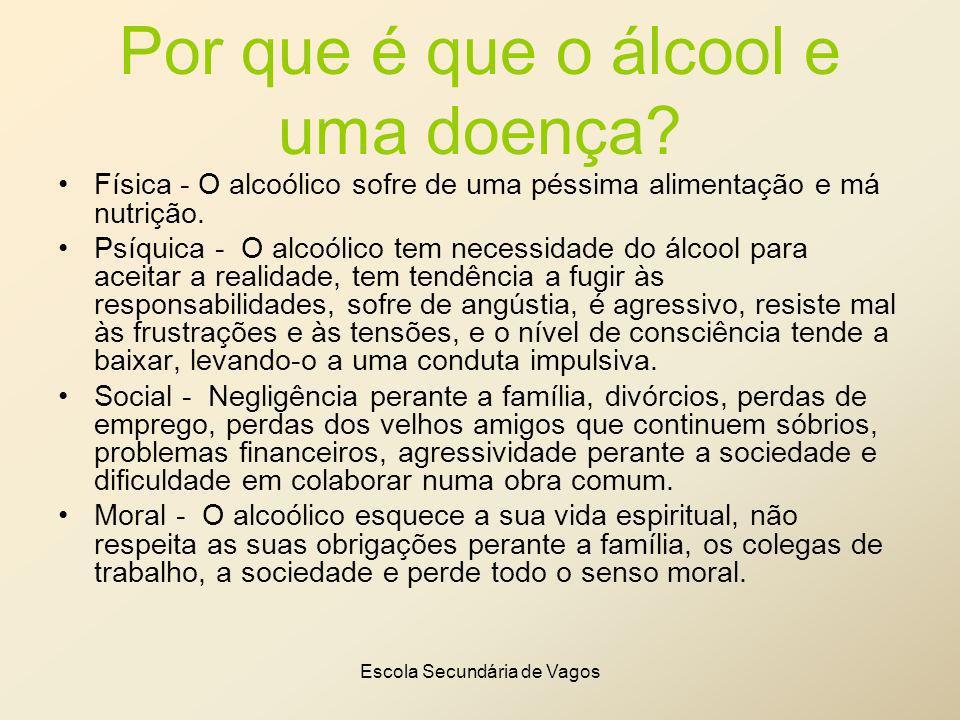Escola Secundária de Vagos Por que é que o álcool e uma doença? Física - O alcoólico sofre de uma péssima alimentação e má nutrição. Psíquica - O alco