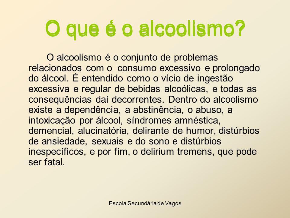 Escola Secundária de Vagos O que é o alcoolismo? O alcoolismo é o conjunto de problemas relacionados com o consumo excessivo e prolongado do álcool. É