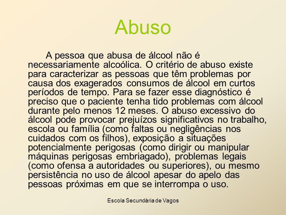 Escola Secundária de Vagos Abuso A pessoa que abusa de álcool não é necessariamente alcoólica. O critério de abuso existe para caracterizar as pessoas