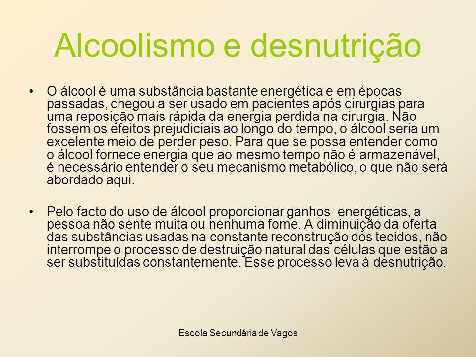 Escola Secundária de Vagos Alcoolismo e desnutrição O álcool é uma substância bastante energética e em épocas passadas, chegou a ser usado em paciente