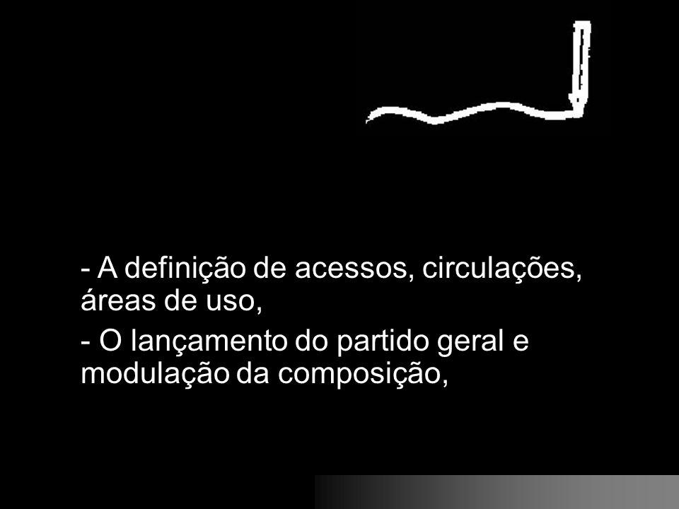 - A definição de acessos, circulações, áreas de uso, - O lançamento do partido geral e modulação da composição,