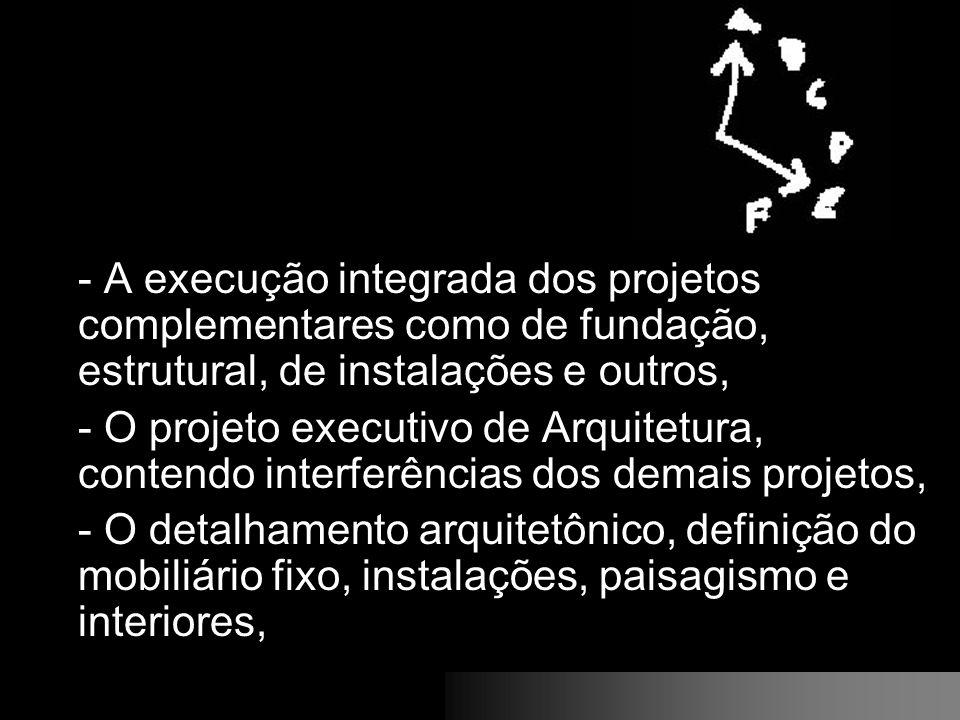 - A execução integrada dos projetos complementares como de fundação, estrutural, de instalações e outros, - O projeto executivo de Arquitetura, conten