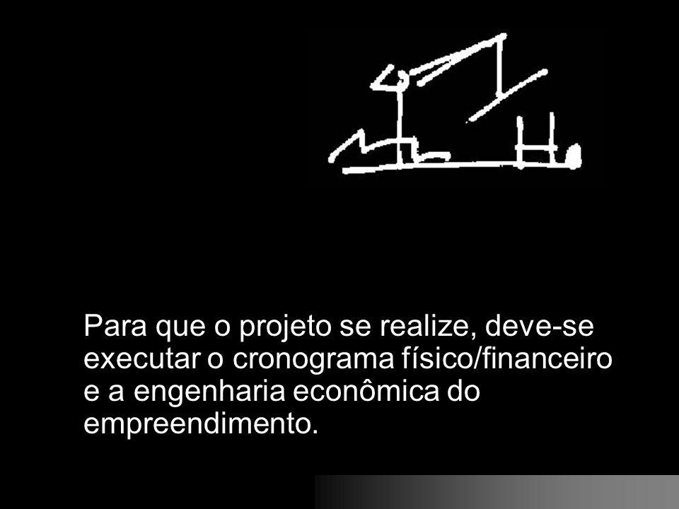 Para que o projeto se realize, deve-se executar o cronograma físico/financeiro e a engenharia econômica do empreendimento.