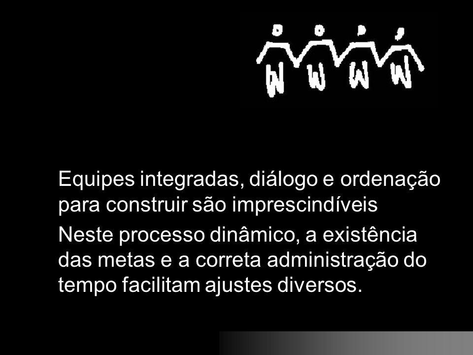 Equipes integradas, diálogo e ordenação para construir são imprescindíveis Neste processo dinâmico, a existência das metas e a correta administração d