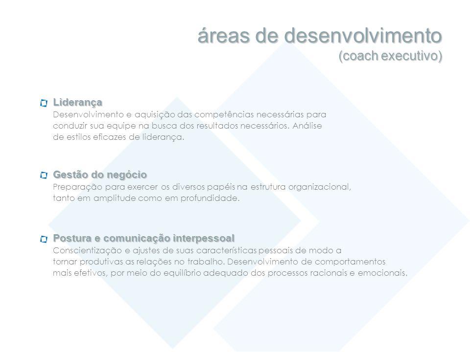 áreas de desenvolvimento (coach executivo) Liderança Desenvolvimento e aquisição das competências necessárias para conduzir sua equipe na busca dos re