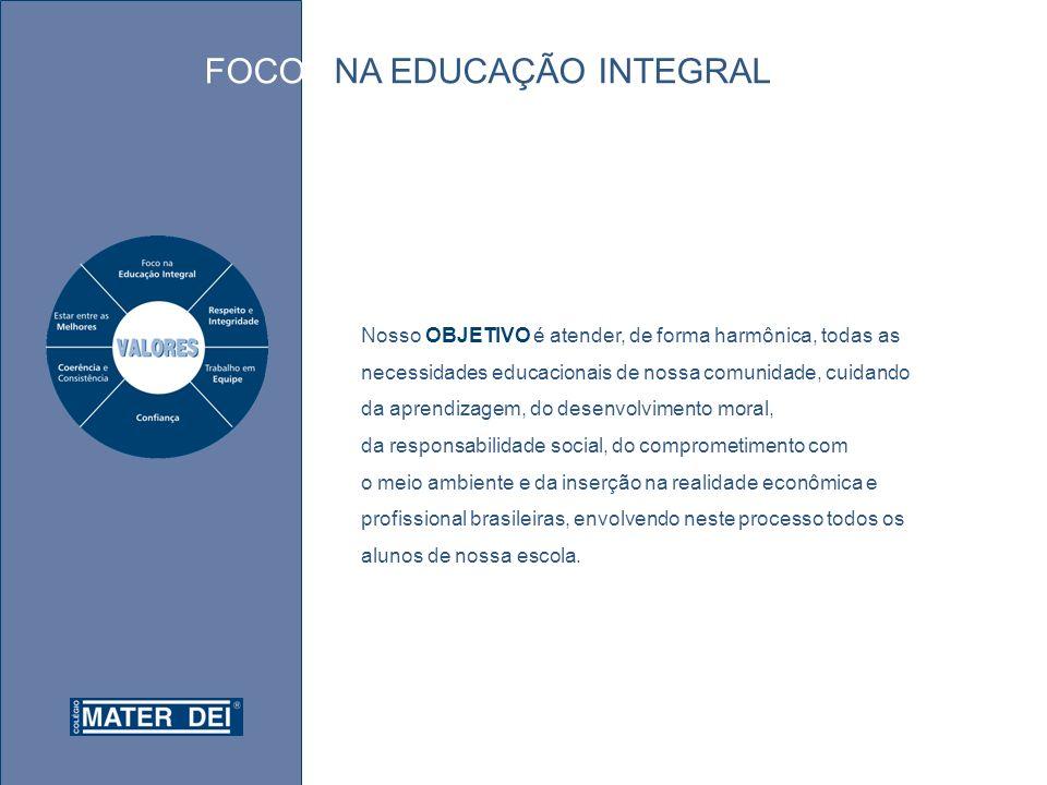 Nosso OBJETIVO é atender, de forma harmônica, todas as necessidades educacionais de nossa comunidade, cuidando da aprendizagem, do desenvolvimento moral, da responsabilidade social, do comprometimento com o meio ambiente e da inserção na realidade econômica e profissional brasileiras, envolvendo neste processo todos os alunos de nossa escola.