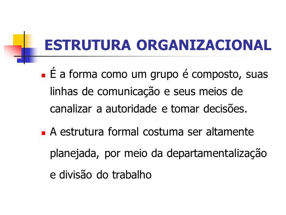 ESTRUTURA ORGANIZACIONAL É a forma como um grupo é composto, suas linhas de comunicação e seus meios de canalizar a autoridade e tomar decisões. A est