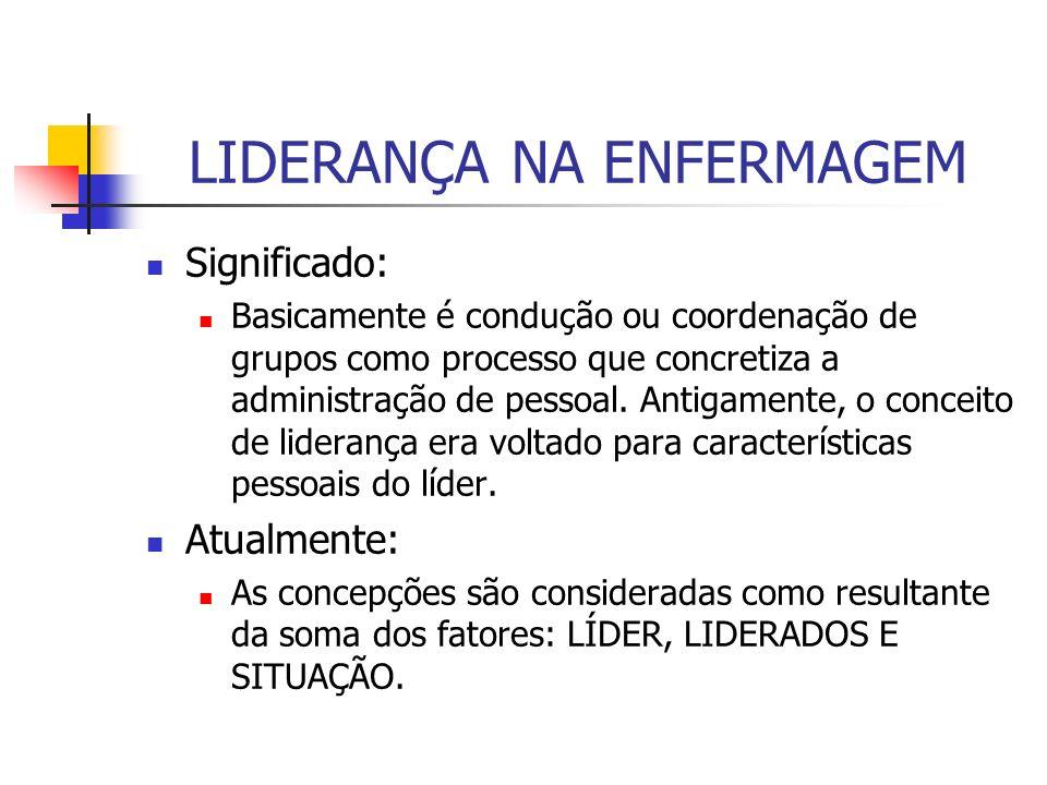 LIDERANÇA NA ENFERMAGEM Significado: Basicamente é condução ou coordenação de grupos como processo que concretiza a administração de pessoal. Antigame