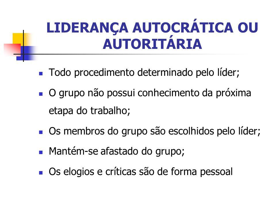 LIDERANÇA AUTOCRÁTICA OU AUTORITÁRIA Todo procedimento determinado pelo líder; O grupo não possui conhecimento da próxima etapa do trabalho; Os membro