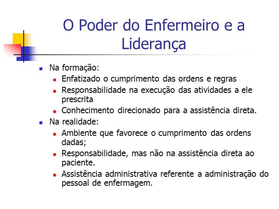 O Poder do Enfermeiro e a Liderança Na formação: Enfatizado o cumprimento das ordens e regras Responsabilidade na execução das atividades a ele prescr