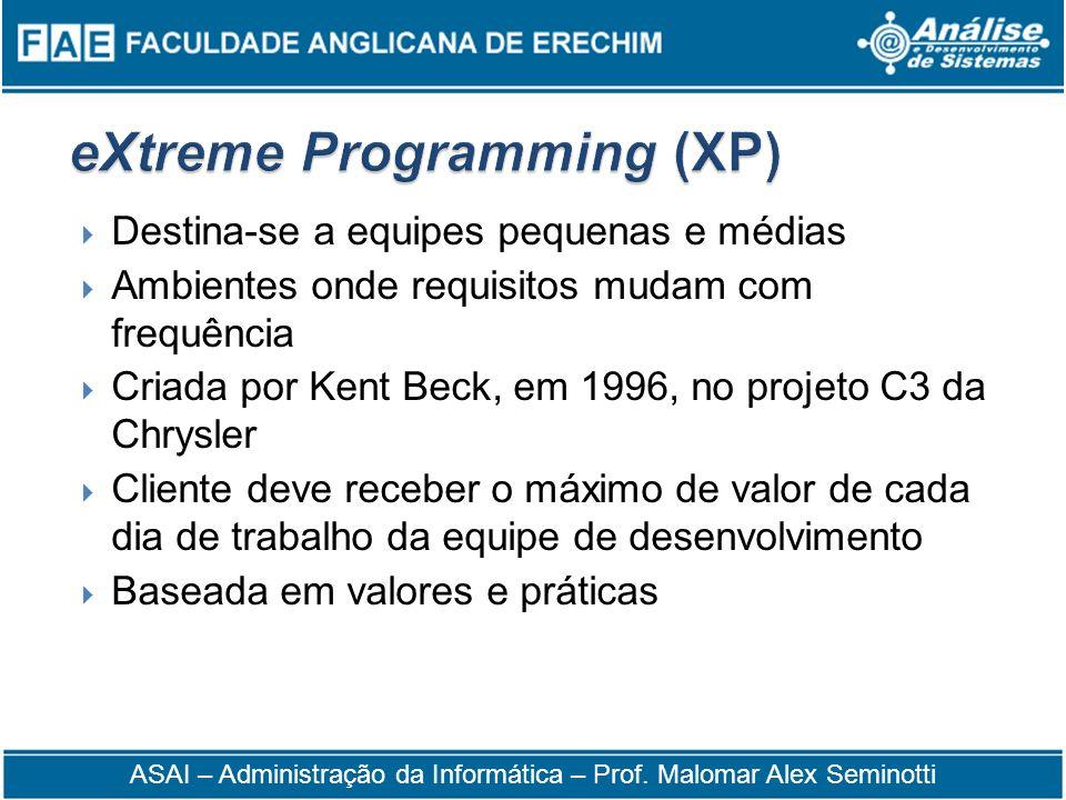 Destina-se a equipes pequenas e médias Ambientes onde requisitos mudam com frequência Criada por Kent Beck, em 1996, no projeto C3 da Chrysler Cliente