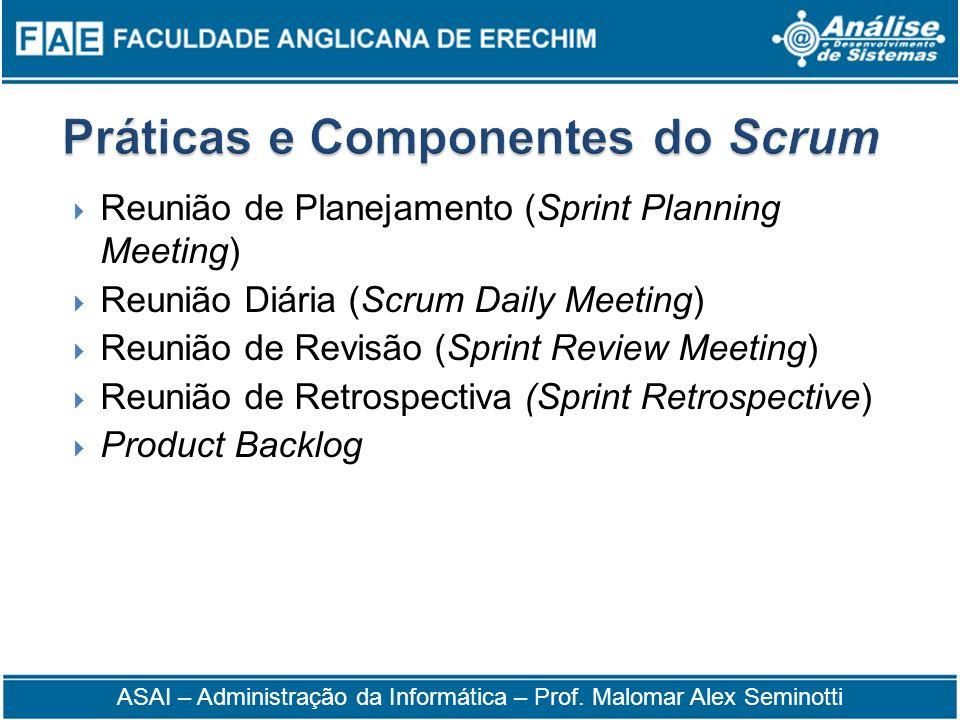 Reunião de Planejamento (Sprint Planning Meeting) Reunião Diária (Scrum Daily Meeting) Reunião de Revisão (Sprint Review Meeting) Reunião de Retrospec
