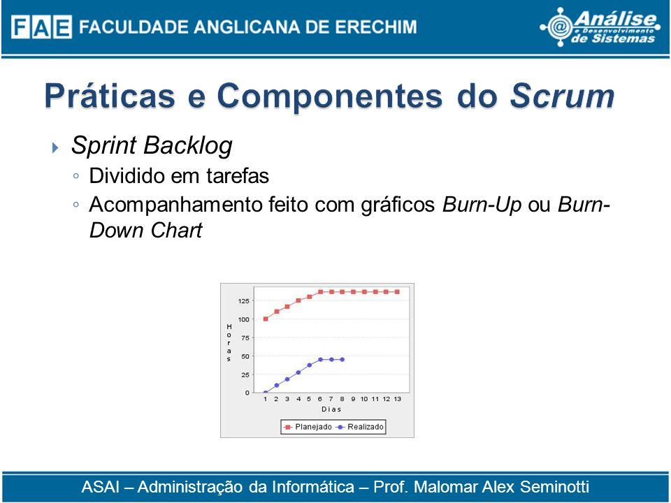 Sprint Backlog Dividido em tarefas Acompanhamento feito com gráficos Burn-Up ou Burn- Down Chart ASAI – Administração da Informática – Prof. Malomar A