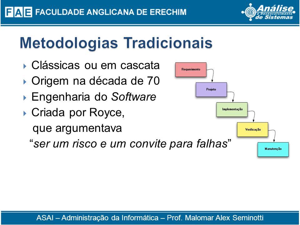 Clássicas ou em cascata Origem na década de 70 Engenharia do Software Criada por Royce, que argumentava ser um risco e um convite para falhas ASAI – A
