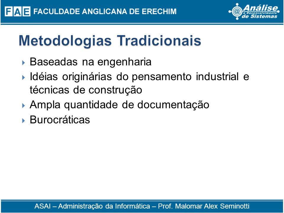 Baseadas na engenharia Idéias originárias do pensamento industrial e técnicas de construção Ampla quantidade de documentação Burocráticas ASAI – Admin