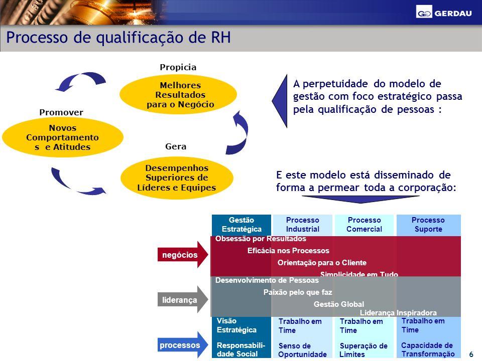 6 Processo de qualificação de RH Gestão Estratégica Processo Industrial Processo Comercial Processo Suporte Visão Estratégica Responsabili- dade Socia