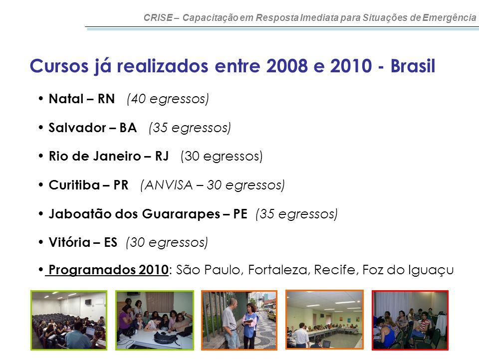 Cursos já realizados entre 2008 e 2010 - Brasil CRISE – Capacitação em Resposta Imediata para Situações de Emergência Natal – RN (40 egressos) Salvado