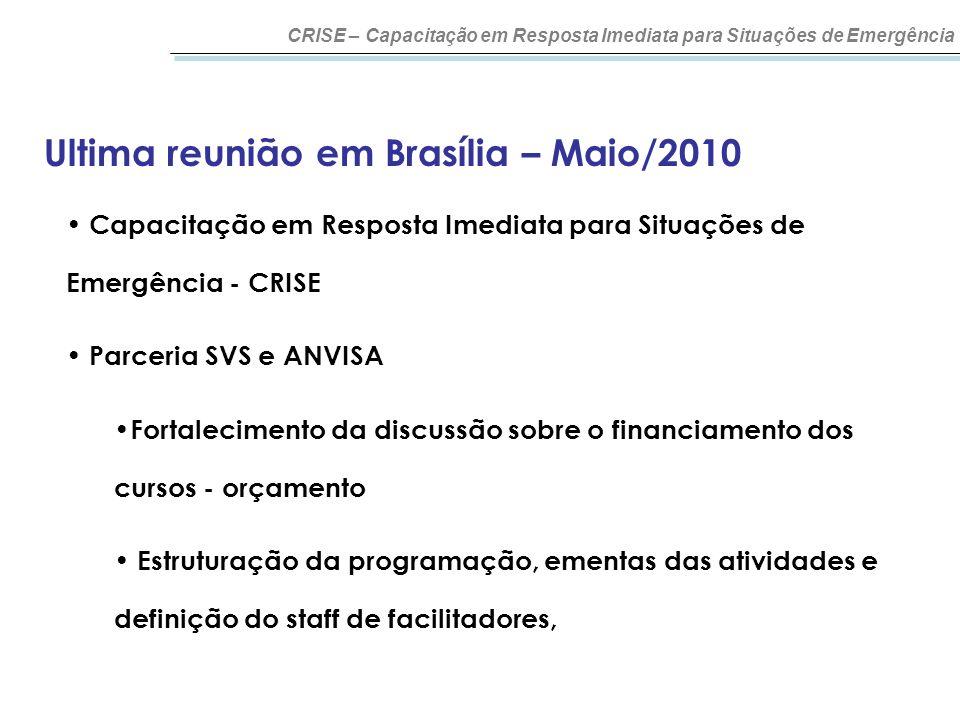 Ultima reunião em Brasília – Maio/2010 CRISE – Capacitação em Resposta Imediata para Situações de Emergência Capacitação em Resposta Imediata para Sit