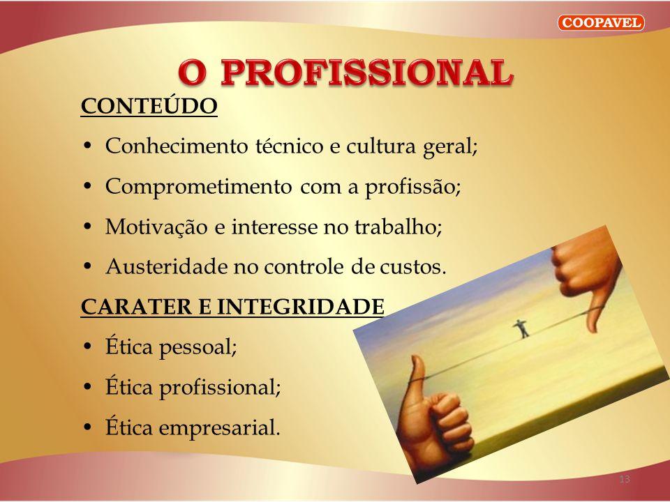 CONTEÚDO Conhecimento técnico e cultura geral; Comprometimento com a profissão; Motivação e interesse no trabalho; Austeridade no controle de custos.