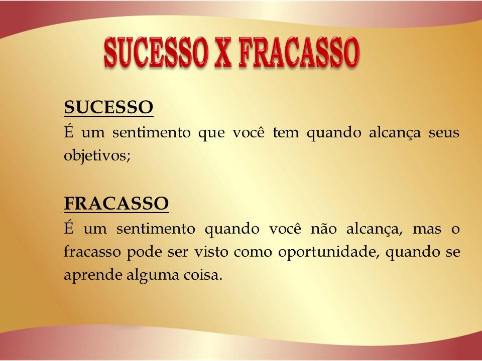 SUCESSO É um sentimento que você tem quando alcança seus objetivos; FRACASSO É um sentimento quando você não alcança, mas o fracasso pode ser visto como oportunidade, quando se aprende alguma coisa.
