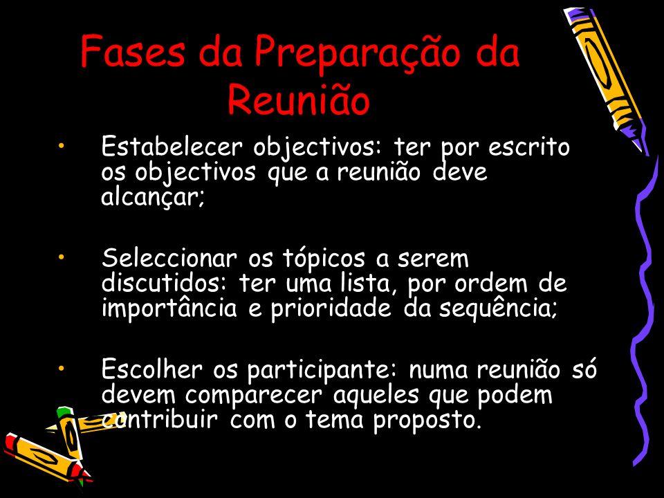 Fases da Preparação da Reunião Estabelecer objectivos: ter por escrito os objectivos que a reunião deve alcançar; Seleccionar os tópicos a serem discu