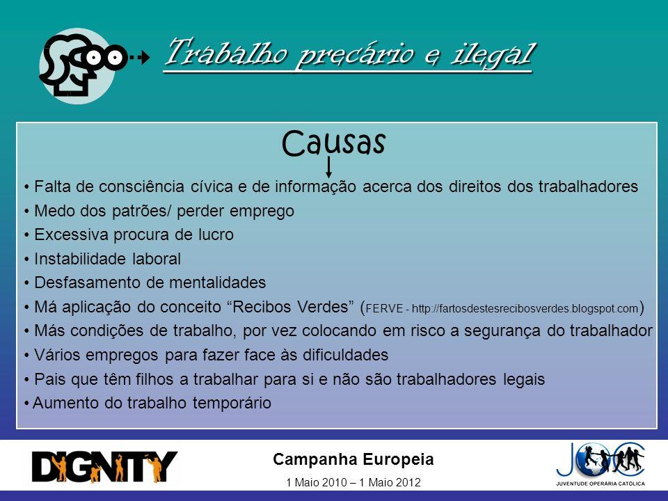 Campanha Europeia 1 Maio 2010 – 1 Maio 2012 Trabalho precário e ilegal Causas Falta de consciência cívica e de informação acerca dos direitos dos trab