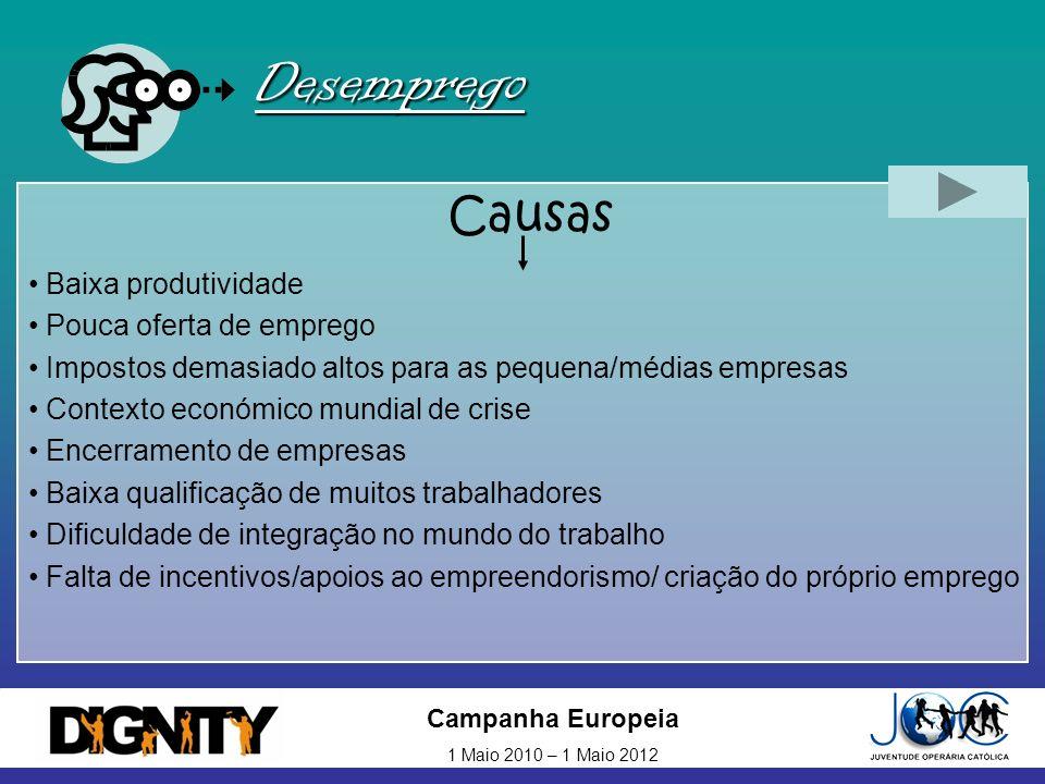 Campanha Europeia 1 Maio 2010 – 1 Maio 2012 Desemprego Causas Baixa produtividade Pouca oferta de emprego Impostos demasiado altos para as pequena/méd