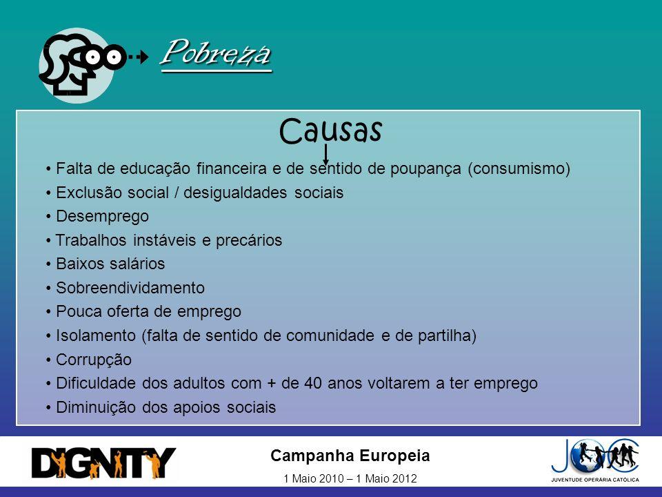 Campanha Europeia 1 Maio 2010 – 1 Maio 2012 Pobreza Causas Falta de educação financeira e de sentido de poupança (consumismo) Exclusão social / desigu