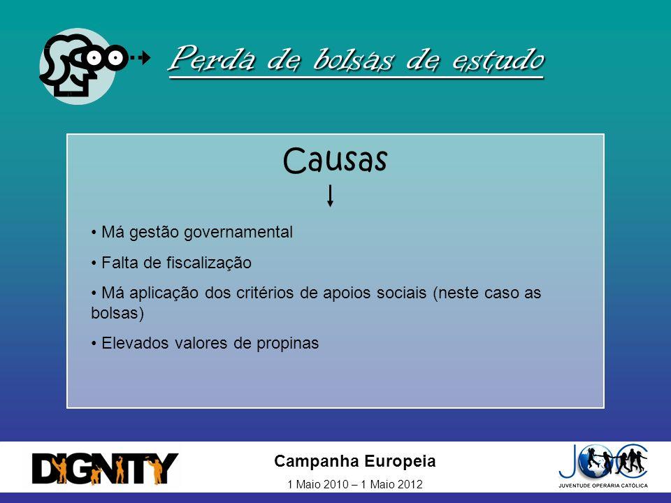 Campanha Europeia 1 Maio 2010 – 1 Maio 2012 Perda de bolsas de estudo Causas Má gestão governamental Falta de fiscalização Má aplicação dos critérios