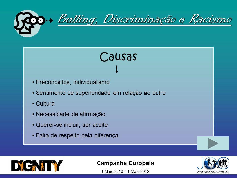 Campanha Europeia 1 Maio 2010 – 1 Maio 2012 Bulling, Discriminação e Racismo Causas Preconceitos, individualismo Sentimento de superioridade em relaçã
