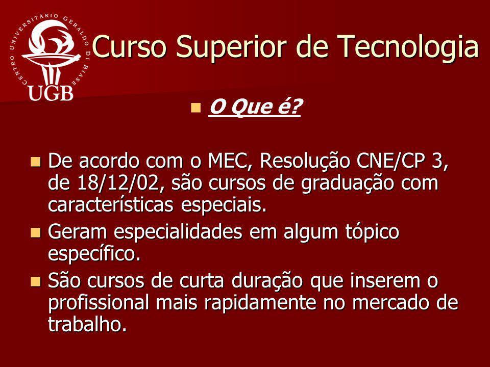 Curso Superior de Tecnologia Curso Superior de Tecnologia O Que é? De acordo com o MEC, Resolução CNE/CP 3, de 18/12/02, são cursos de graduação com c