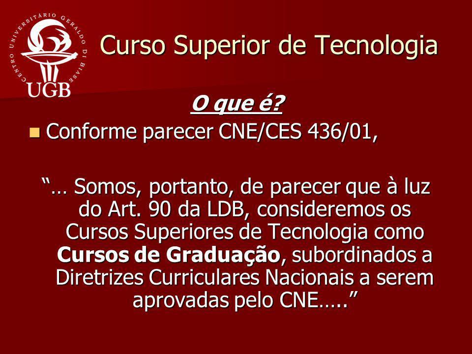 Curso Superior de Tecnologia O que é? Conforme parecer CNE/CES 436/01, Conforme parecer CNE/CES 436/01, … Somos, portanto, de parecer que à luz do Art