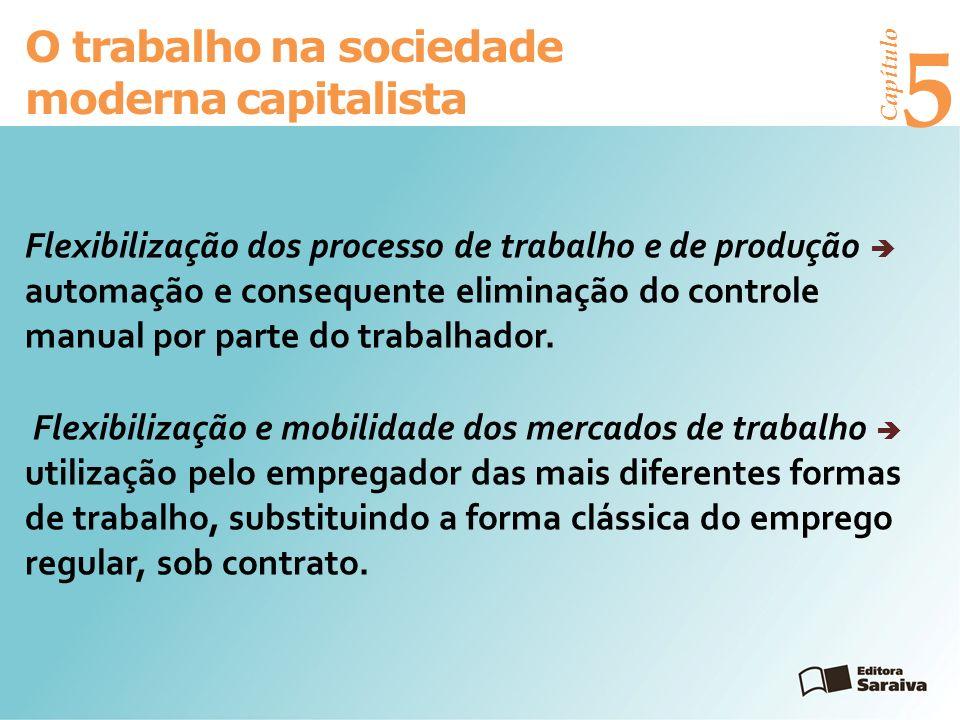 Capítulo 5 O trabalho na sociedade moderna capitalista Flexibilização dos processo de trabalho e de produção automação e consequente eliminação do controle manual por parte do trabalhador.