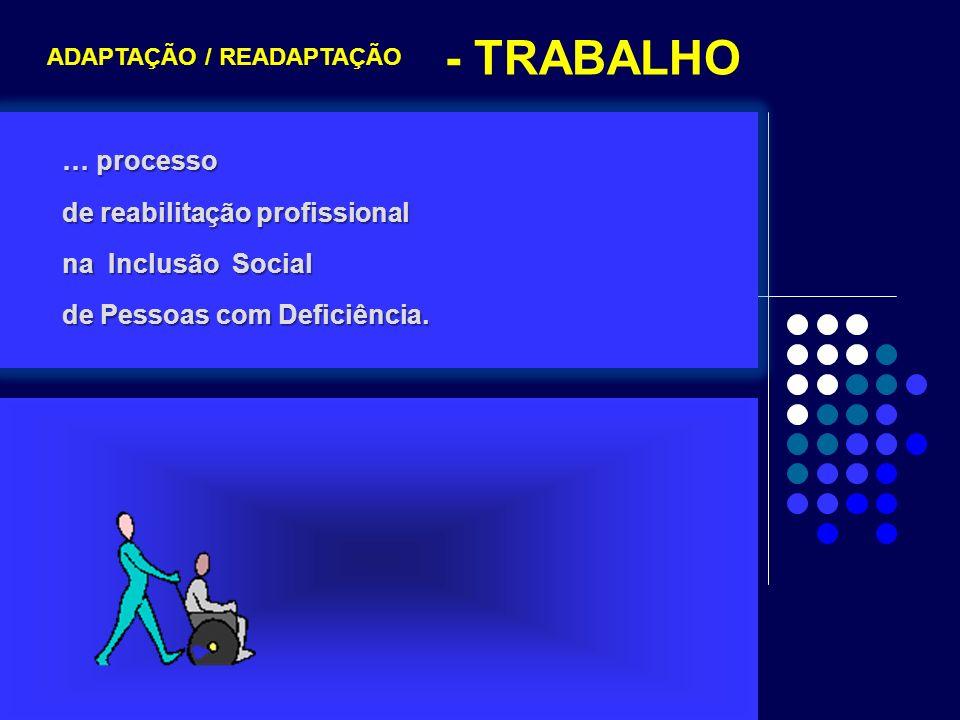 … processo de reabilitação profissional na Inclusão Social de Pessoas com Deficiência. ADAPTAÇÃO / READAPTAÇÃO - TRABALHO
