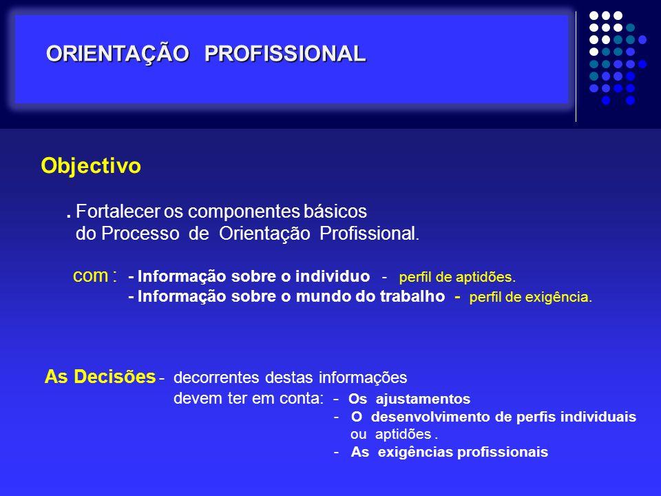 Objectivo. Fortalecer os componentes básicos do Processo de Orientação Profissional. com : - Informação sobre o individuo - perfil de aptidões. - Info